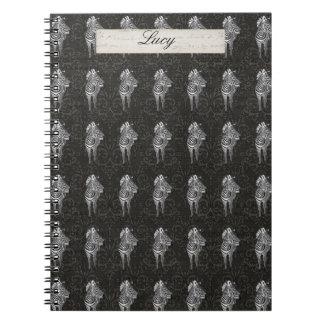 Zebra Patterns Black Personalized Notebook