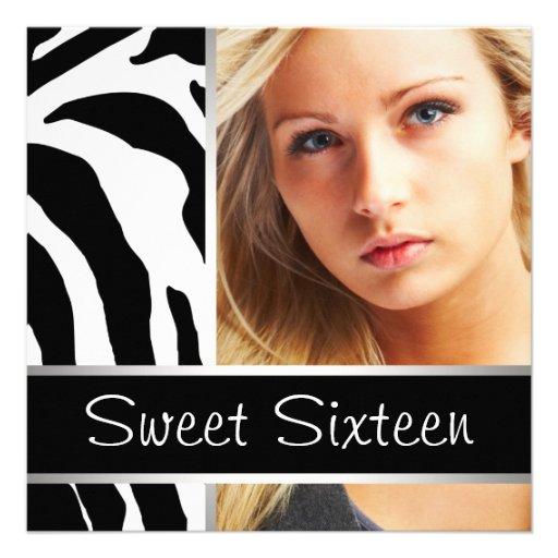 Zebra Photo Sweet Sixteen Birthday Party Announcements