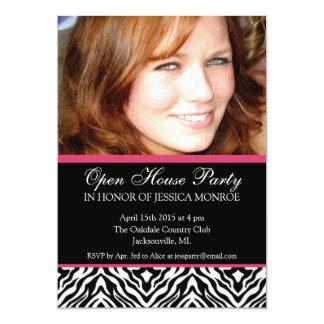 Zebra Pink Accent Photo Open House Graduation 5x7 Paper Invitation Card