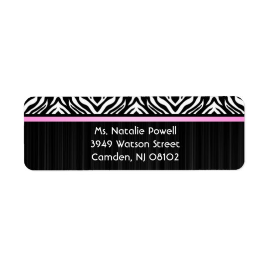 Zebra Pink Accent Return Avery Label