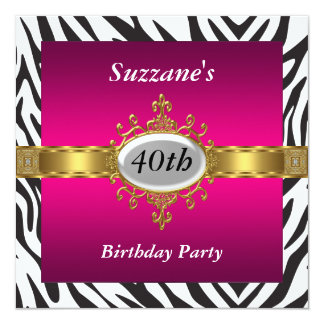 Zebra Pink Birthday Party Invitation