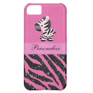 Zebra & Pink & Black Faux Glitter Animal Print iPhone 5C Case