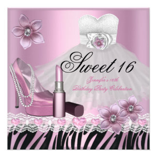 Zebra Pink Black Sweet Sixteen 16 Dress Lipstick 2 Personalized Invitation