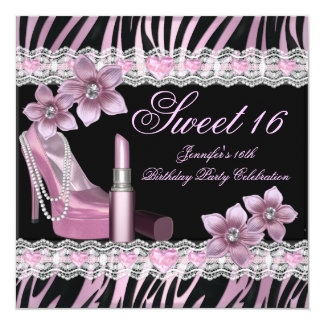 Zebra Pink Black Sweet Sixteen 16 Party Lipstick Card