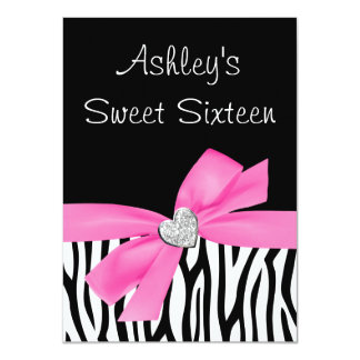 "Zebra Pink Bow Diamond Sweet 16 4.5"" X 6.25"" Invitation Card"
