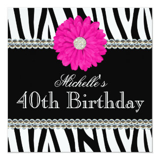 Zebra Pink Daisy Printed Gems 40th Birthday Card