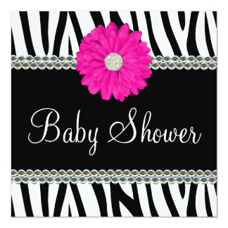 Zebra Pink Daisy Printed Gems Baby Shower Card