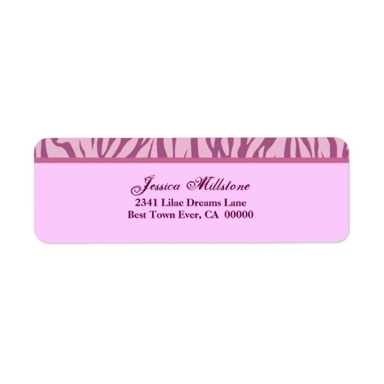 Zebra Pink Stripe Return Address Label