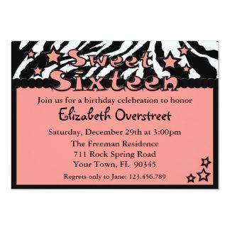 Zebra Pink Sweet Sixteen Birthday Party Invitation