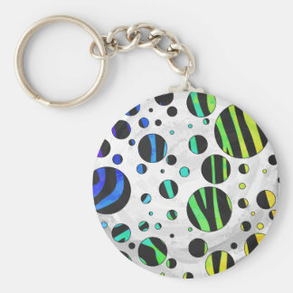 Zebra Polka Dot Black and Rainbow Print Key Ring