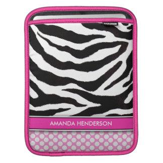 Zebra & Polka Dots Pink Personalized iPad Sleeve