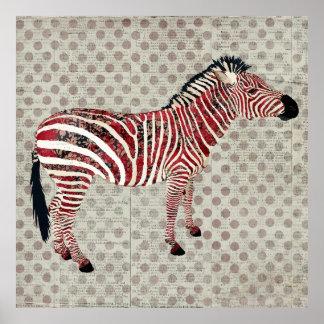 Zebra Polkadot Retro Poster