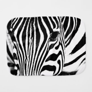 Zebra portrait black and white baby burp cloths