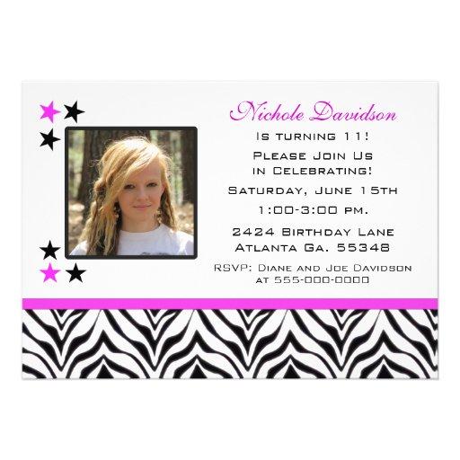 "Zebra Print: 11th Birthday Party Invitations 5"" X 7"" Invitation Card | Zazzle"