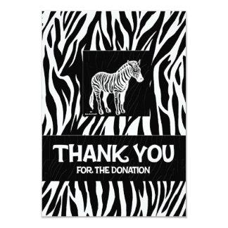 "Zebra Print 3.5"" x 5"" Donation Thank You 9 Cm X 13 Cm Invitation Card"