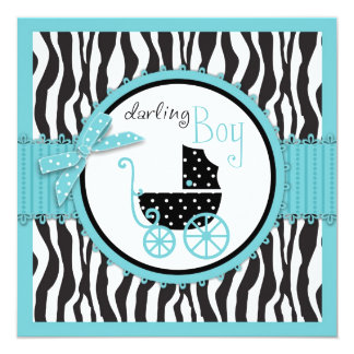 Zebra Print and Baby Carriage Baby Shower Custom Invitations