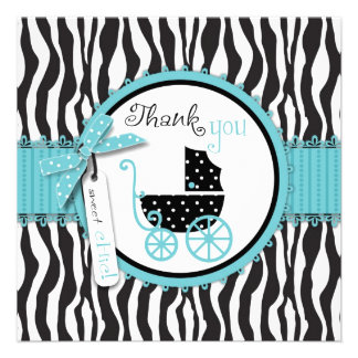 Zebra Print and Baby Carriage Thank You Invite