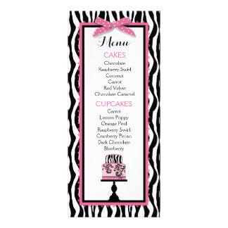 Zebra Print and Cake Bakery Menu Card