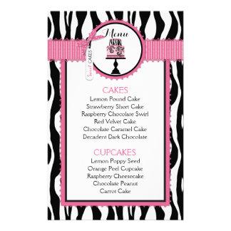 Zebra Print and Cake Bakery Menu Card 14 Cm X 21.5 Cm Flyer