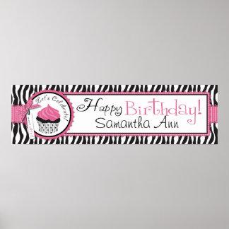 Zebra Print and Cupcake Birthday Banner