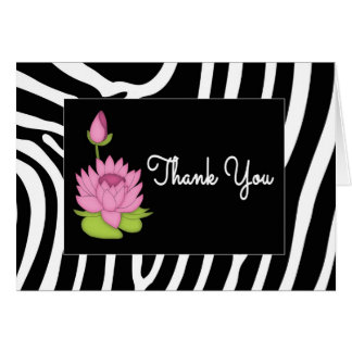Zebra Print and Lily Blank Thank You Card