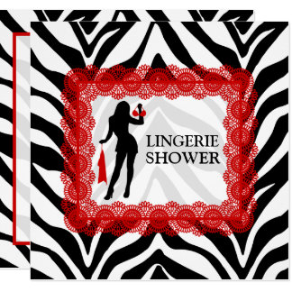Zebra Print and Red Lace Lingerie Shower Card