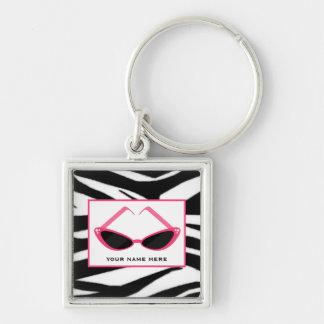 Zebra Print And Retro Pink Sunglasses Key Ring