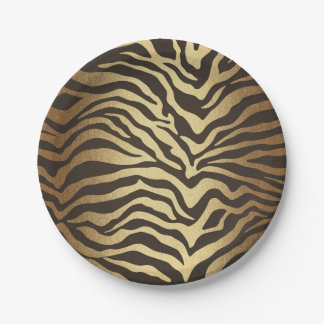 Zebra Print Animal Skin Elegant Modern Glam Gold Paper Plate