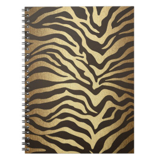 Zebra Print Animal Skin Print Modern Glam Gold Notebooks