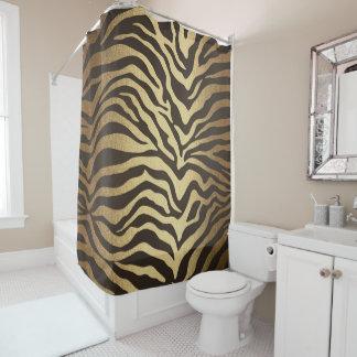 Zebra Print Animal Skin Print Modern Glam Gold Shower Curtain