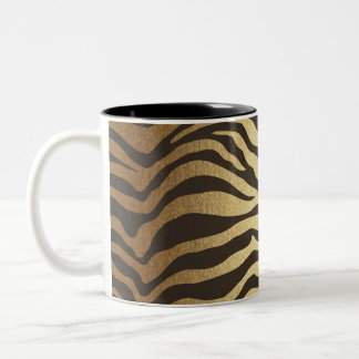 Zebra Print Animal Skin Print Modern Glam Gold Two-Tone Coffee Mug