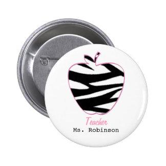 Zebra Print Apple Teacher Pinback Buttons