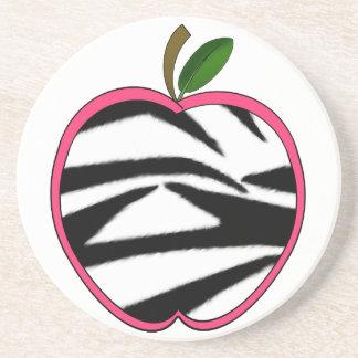 Zebra Print Apple Teacher Coaster
