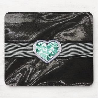 Zebra Print aqua Jewel Pattern Black Satin Mouse Pad