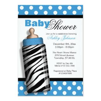 Zebra Print Baby Bottle Blue Baby Shower 13 Cm X 18 Cm Invitation Card