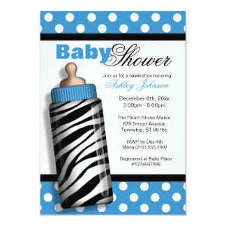 Zebra Print Baby Bottle Blue Baby Shower Personalized Announcement