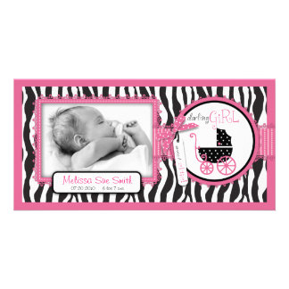 Zebra Print & Baby Carriage Announcement Photo Cards