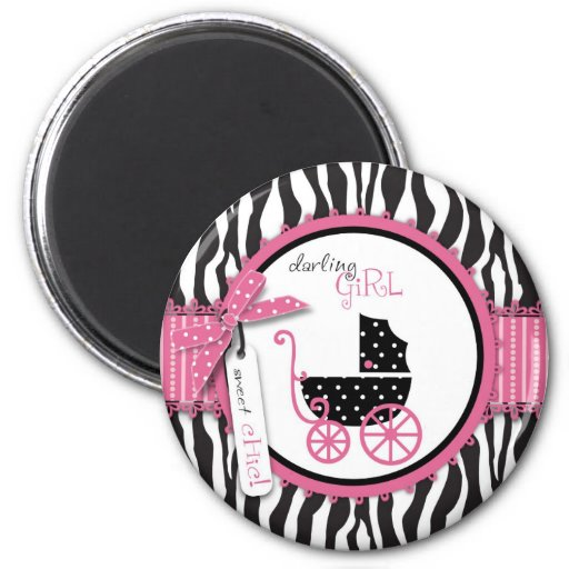 Zebra Print & Baby Carriage Baby Shower 6 Cm Round Magnet