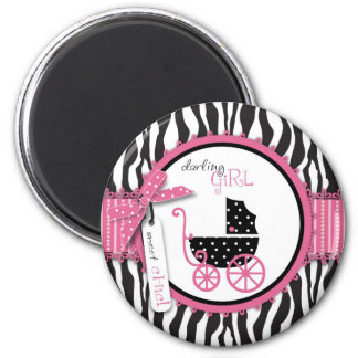 Zebra Print & Baby Carriage Baby Shower Magnet
