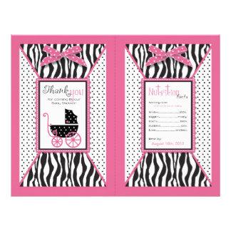 Zebra Print & Baby Carriage Favor Wrapper 21.5 Cm X 28 Cm Flyer