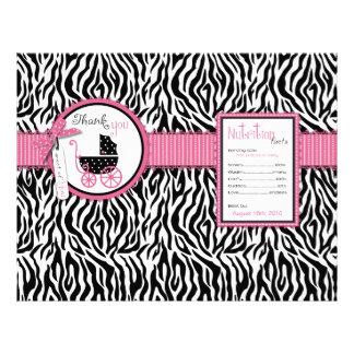 Zebra Print & Baby Carriage Favor Wrapper Flyers
