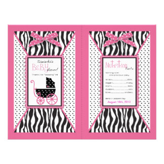 Zebra Print & Baby Carriage Popcorn Wrapper 21.5 Cm X 28 Cm Flyer