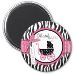 Zebra Print & Baby Carriage Thank You 6 Cm Round Magnet