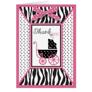 Zebra Print & Baby Carriage Thank You Greeting Card