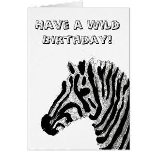 Zebra Print Black and White Stripes Greeting Card