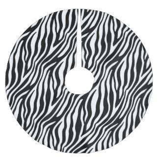 Zebra Print Black And White Stripes Pattern Brushed Polyester Tree Skirt