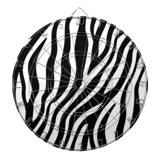 Zebra Print Black And White Stripes Pattern Dartboard