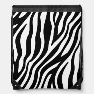 Zebra Print Black And White Stripes Pattern Drawstring Bag