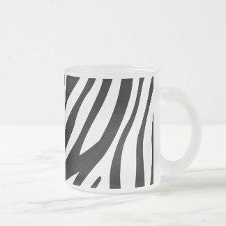 Zebra Print Black And White Stripes Pattern Frosted Glass Coffee Mug