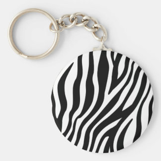 Zebra Print Black And White Stripes Pattern Key Ring